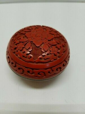 Small Chinese Flower Carved Cinnabar Red Lacquer Enamel Trinket Jar Box