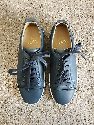 big sale 68f31 b51a5 CHRISTIAN LOUBOUTIN GRAY Yang Louis Junior Flat Low Leather Sneakers US  Size 9