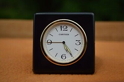 Cartier Travel Alarm Clock 0251 With Folding Leather Case In Excellent Condition