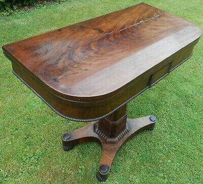 Victorian Dark Wood Fold-over Pedestal Card Games Console Hall Table