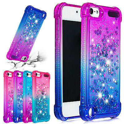 For iPod Touch 6th Gen Case 5th Bling Glitter Liquid Quicksand Rubber Back Cover
