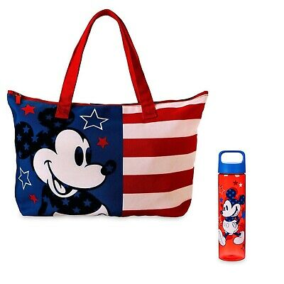 NEW Disney Parks Mickey Mouse Americana Canvas Tote RED WHITE & BLUE AMERICANA