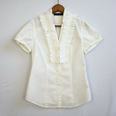 THE LIMITED sz S White Tuxedo Ruffled Button Down Top NWOT Short Sleeves Women's