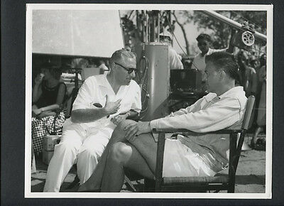 Stewart Granger + Director George Cukor Candid On Set - 1956 N Mint Dblwt
