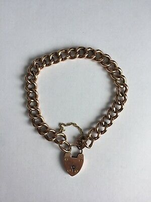 Antique Victorian 9ct Rose Gold Curb Bracelet Heart Padlock Clasp