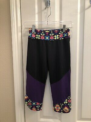 Girl's CIRCO Brand Leggings - Black cropped with mosaic waistband and edging Lar