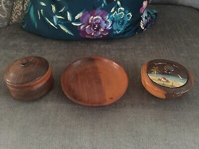 3 X Lovely Hand Turned Vintage Wooden Pots