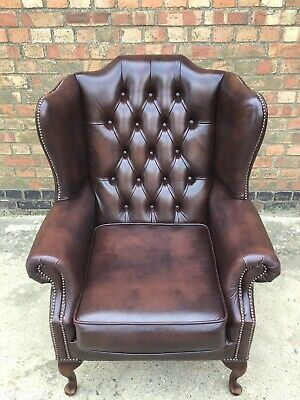Antique Brown Georgian Style Winged Chesterfield  Fireside Chair