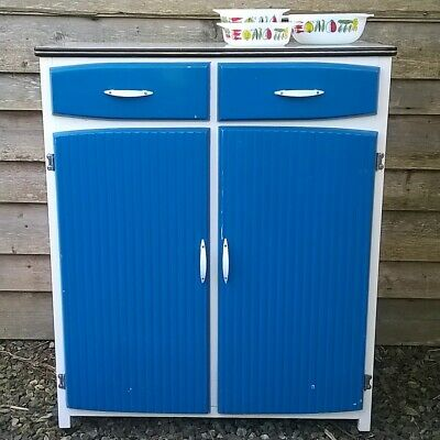 Kitchen Cupboard Cabinet Vintage 1950s / 60s 2 Drawers Formica Top Blue Utiliity