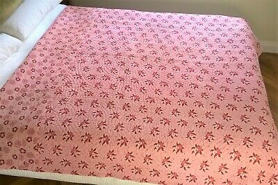 """Vintage Welsh Quilt Wholecloth Style Durham Pink Red Reversible 78"""" x 68"""""""