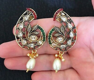 1 Pair of Latest Indian Antique Boho Costume Earring Diamonte with Golden Finish