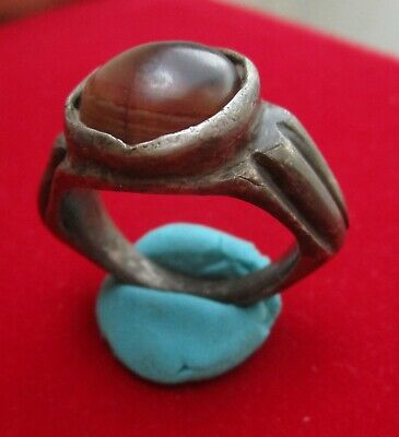 AMAZING - HUGE - RARE Ancient Roman silver  patrician ring , carnellian stone .