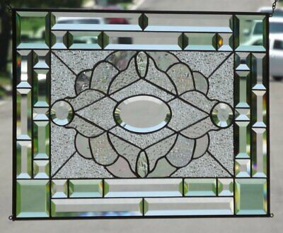 """•RADIANCE • Beveled Stained Glass Window Panel • 22 3/8"""" x 13 3/8"""""""