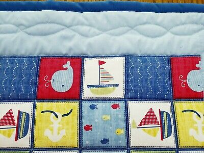 HANDMADE 33inx43in COTTON NAUTICAL THEME LIGHT BLUE BABY/TODDLER QUILT-GIFT IDEA