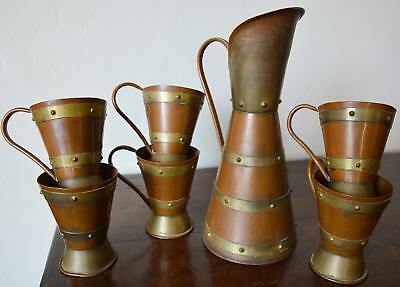 Hector Aguilar Copper Pitcher 6 Mugs Taxco Mid Century Mexican Arts & Crafts WOW