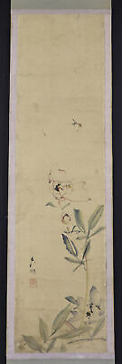 """JAPANESE HANGING SCROLL ART Painting """"Flowers and Bee"""" Asian antique  #E7865"""