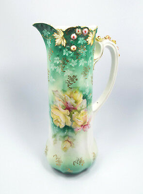 """Antique Unsigned Ornate Painted Gilt Roses Porcelain Tall Pitcher Tankard, 13.5"""""""