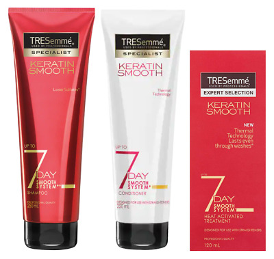 TRESemme 7 DAY Keratin Smooth Shampoo Conditioner Heat Activated Treatment NEW