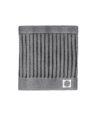 Stone Island Junior Frosted Effect Knitted Neck Warmer In Black