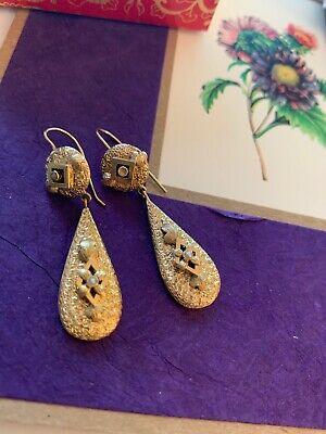 Early 1800's Antique Victorian 14k Solid Gold Earrings