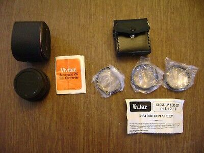Vivitar Accessories Lot (Automatic 2X-21 Tele Converter + Close-Up Lens Set)