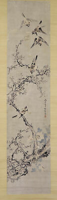 """JAPANESE HANGING SCROLL ART Painting """"Sparrows"""" Asian antique  #E7880"""