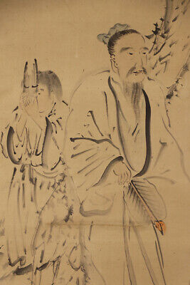 """JAPANESE HANGING SCROLL ART Painting """"Figures"""" Asian antique  #E7881"""