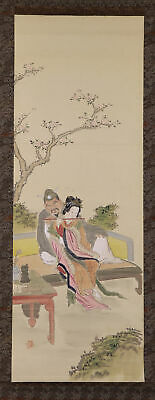 """JAPANESE HANGING SCROLL ART Painting """"Figures"""" Asian antique  #E7876"""