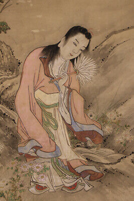 """JAPANESE HANGING SCROLL ART Painting """"Figure""""  Asian antique  #E7870"""