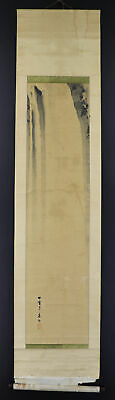 """JAPANESE HANGING SCROLL ART Painting Scenery """"Waterfall"""" Asian antique  #E7883"""