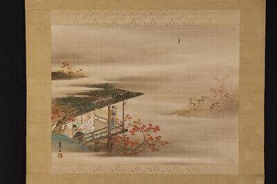 JAPANESE HANGING SCROLL ART Painting Scenery Asian antique  #E7871