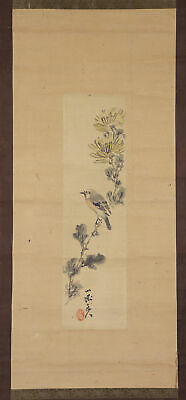 """JAPANESE HANGING SCROLL ART Painting """"Bird and Flower"""" Asian antique  #E7885"""