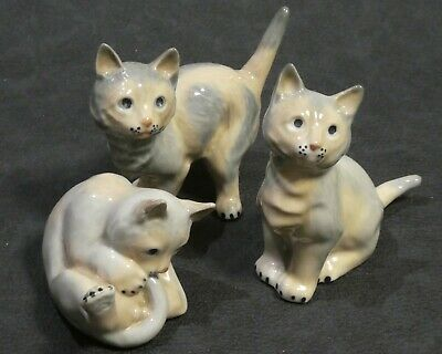 Set Of Three Porcelain Cats Kittens Figurines Sculptures Made In Spain
