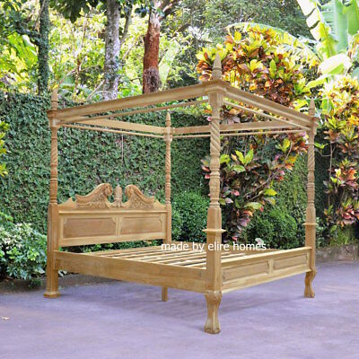UK STOCK King size 5' Teak Wood  Four poster canopy chippendale Queen Anne Bed
