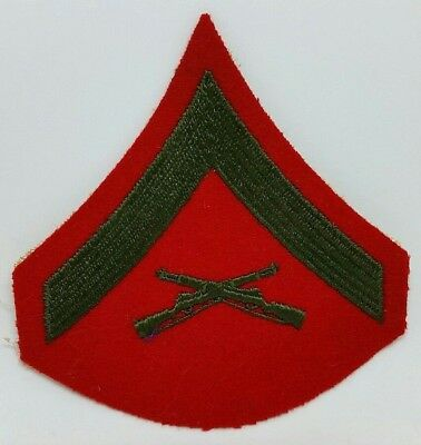 USMC Marines Lance Corporal LCpl E3 Felt Red Green Embroidered Military Patch