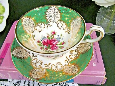 PARAGON tea cup and saucer green gold gilt pink roses pattern teacup wide mouth