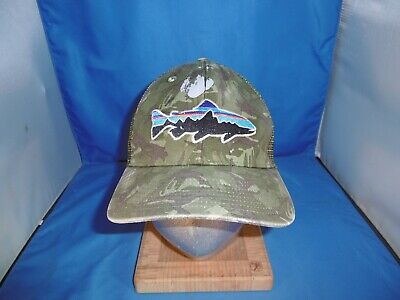 bed9ec7b Aged Patagonia Fitz Roy Trout Trucker Hat Snapback Camo Distressed Prop