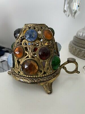 1 Vintage Victorian Brass Jeweled Fairy Finger Lamp Candle Holder