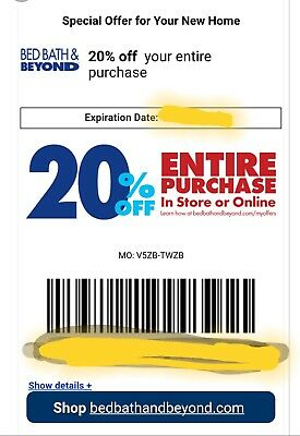 20% OFF Bed bath and beyond, 20% OFF Entire Purchase, Email Delivery
