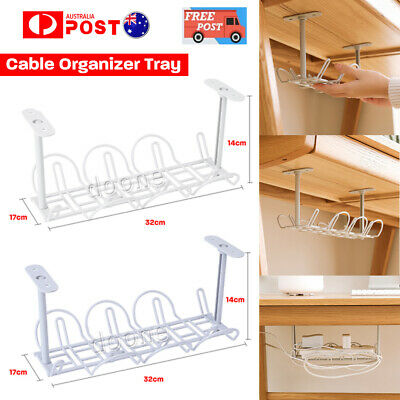 Under Desk Cable Management Tray Storage Organizer Wire Cord Charger Plugs White