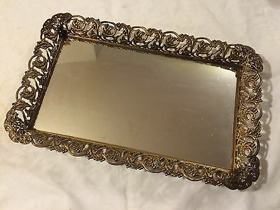 Vtg Antique FANCY Elegant Hollywood Gold Brass Color Filigree Vanity Mirror Tray