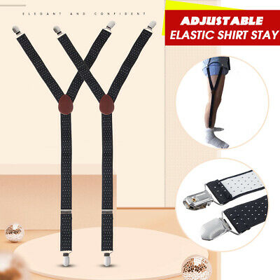 Pair Y-Style Shirt Stays Adjustable Elastic Garters Strap Non-slip Clamps Adults