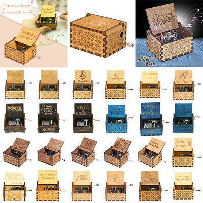 Game of Thrones engraved handmade Wooden Music Boxes Harry Potter Star Wars Box
