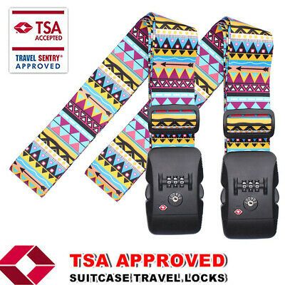 2x Travel Luggage Strap TSA Adjustable Suitcase Safety Lock Buckle Belt floral