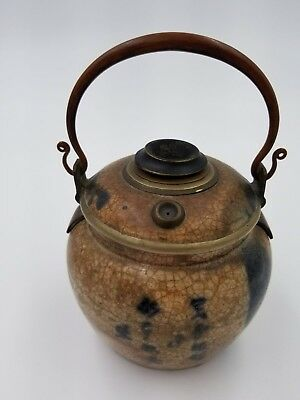 Antique Asian Vietnam Chinese Glazed Porcelain Pottery Opium Vessel Signed