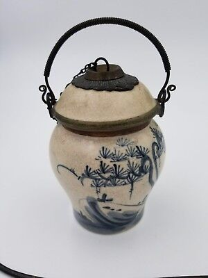 Antique Asian Vietnam Chinese Porcelain Pottery Opium Vessel Set w/ Makers Marks