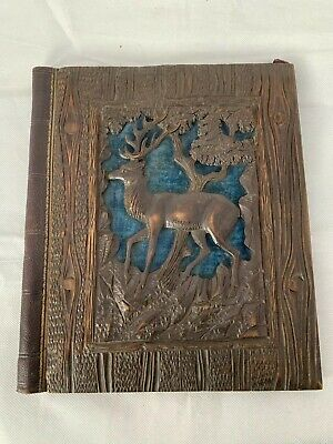 ANTIQUE hand carved BLACK FOREST STAG INK BLOTTER writing paper pad folder cover