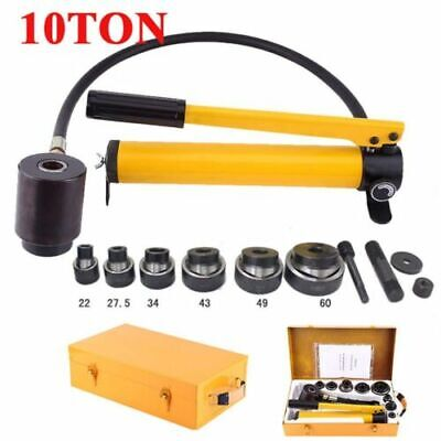 10 Ton 6 Die Hydraulic Knockout Punch Driver Kit Hole Hand Tool Box Free Deliver