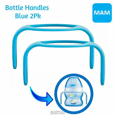 MAM Bottle Handles│Cup Holder│Fit to MAM Bottles & Trainer│BPA Free│SKY│2Pk│0+m