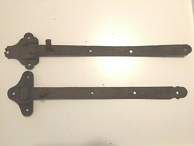 "2 Antique Iron Hinges 20""+ wide Straps - Barn or Industrial Hardware"
